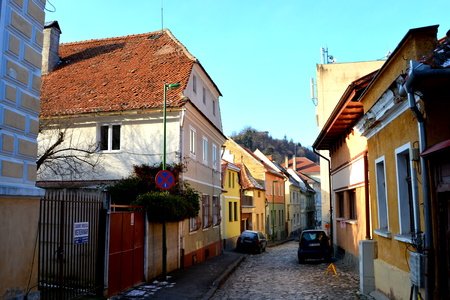 Typical urban landscape of the city Brasov, a town situated in Transylvania, Romania, in the center of the country Editorial