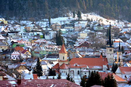 Aerial view. Typical urban landscape of the city Brasov, a town situated in Transylvania, Romania, in the center of the country