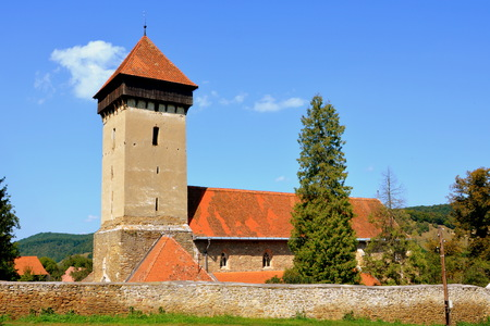 Fortified medieval church in the village Malancrav, Transylvania. Here are some of the most significant Gothic murals in Transylvania