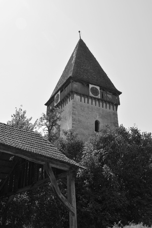 Fortified medieval saxon church in Bruiu - Braller, a commune in Sibiu County, Transylvania, Romania. Stock Photo