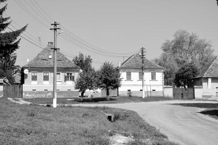 Typical rural landscape and peasant houses in Bruiu - Braller, a commune in Sibiu County, Transylvania, Romania.