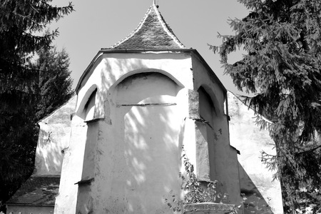 Fortified medieval saxon evangelic church in the village Somartin, Martinsberg, Märtelsberg, Transylvania, Romania