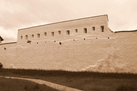 Fort in the village Feldioara, built by the teutonic knights 900 years ago, in Transylvania, Romania Banco de Imagens