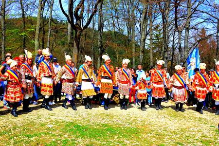Men dancing. Riders during Brasov Juni parade Riders celebrating of the day so call Juni Parade. A millennial  romanian tradition in Brasov, Transylvania.