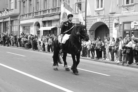 Brasov,  Transylvania, Romania, April 15 2018, Riders celebrating of the day so call Juni Parade. A millennial  christian romanian tradition.