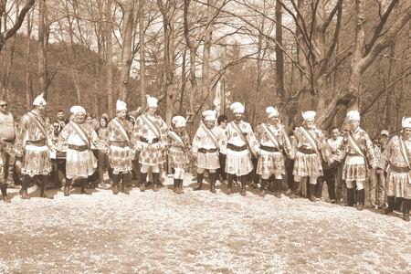 Men dancing. Brasov, Transylvania, Romania, April 15 2018, Riders celebrating of the day so call Juni Parade. A millennial  christian romanian tradition.