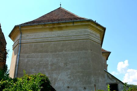 Fortified medieval saxon evangelic church in the village  Apold 写真素材 - 146107005