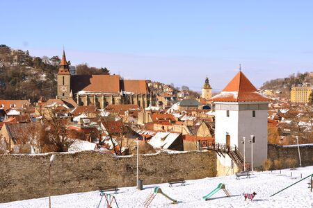 Old medieval town. Typical urban landscape of the city Brasov, a town situated in Transylvania, Romania, in the center of the country. 300.000 inhabitants. 스톡 콘텐츠