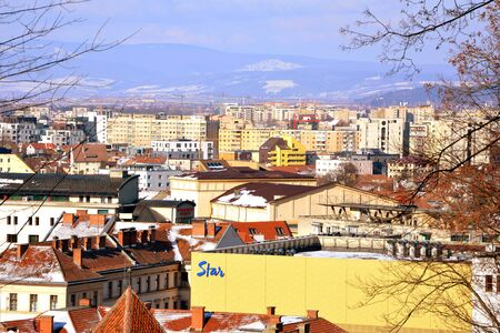 Aerial view. Typical urban landscape of the city Brasov, a town situated in Transylvania, Romania, in the center of the country. 300.000 inhabitants.