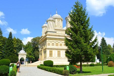 Cathedral of Curtea de ArgeÈ™ (early 16th century) is a Romanian Orthodox cathedral in Curtea de ArgeÈ™, Romania. It is located on the grounds of the Curtea de ArgeÈ™ Monastery, and is dedicated to Dormition of the Mother of God Stok Fotoğraf