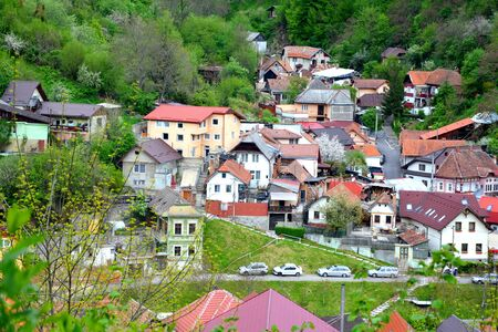 Typical urban landscape of the city Brasov, a town situated in Transylvania, Romania, in the center of the country. 300.000 inhabitants. Stock Photo