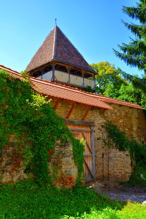 Fortified medieval saxon evangelic church  in  the village Mesendorf  (Meschenderf,  Meschendorf, Mesche),  Transylvania, Romania. The settlement was founded by the Saxon colonists in the middle of th
