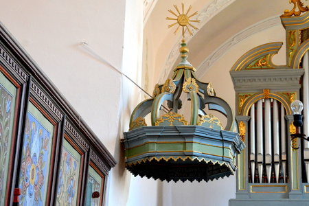 Pulpit. Inside the church of the fortified medieval saxon evangelic church in the village Mesendorf  (Meschenderf, Meschendorf, Mesche), Transylvania, Romania.