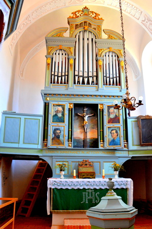 Organ. Inside the church of the fortified medieval saxon evangelic church in the village Mesendorf  (Meschenderf, Meschendorf, Mesche), Transylvania, Romania.