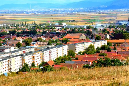 City  Codlea. Typical landscape in the forests of Transylvania, Romania. Green landscape in the midsummer, in a sunny day