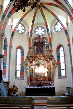 medieval fortified saxon church in the village Crit-Kreutz, Transylvania, Romania Editorial