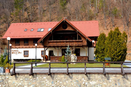Chalet in Piatra Craiului in Carpathian Mountains, Transylvania. Typical landscape in the forests of  Romania. Green landscape in spring, in a sunny day 新聞圖片