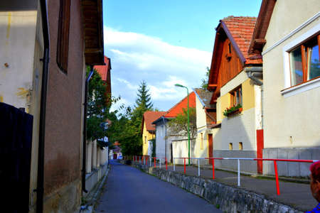 Cvartal Schei and old houses. Typical urban landscape of the city Brasov, a town situated in Transylvania, Romania, in the center of the country 版權商用圖片