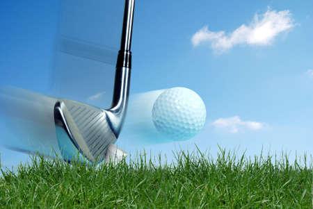 a shot: Iron hitting golf ball Stock Photo