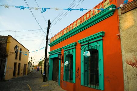 A vibrantly colorful house in Oaxaca, Mexico. Stock Photo