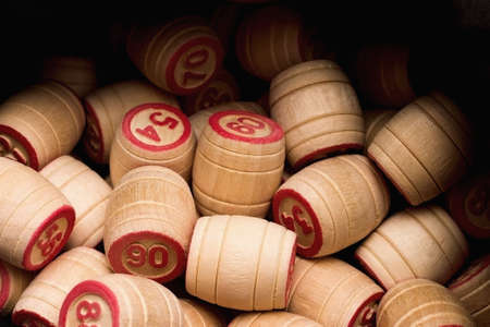 kegs: Lotto  Wooden kegs in a sack  Stock Photo