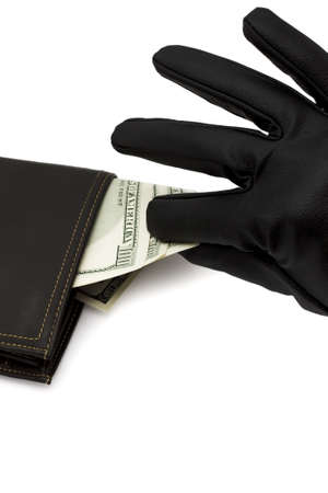 Money being taken out of purse on white background  Stock Photo - 16728992
