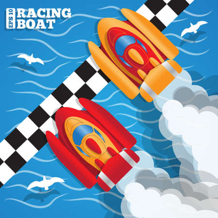 The racing boats at the finish line. View from above. Vector illustration.