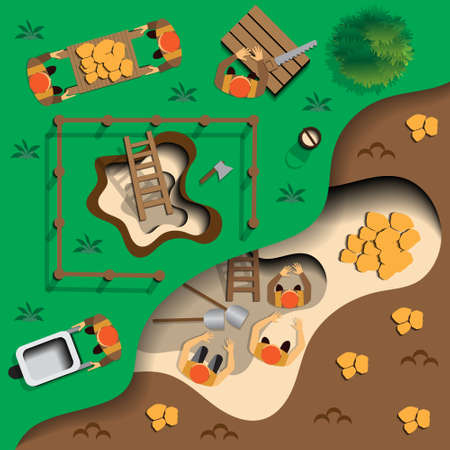 the miners: Miners at work. View from above. Vector illustration.