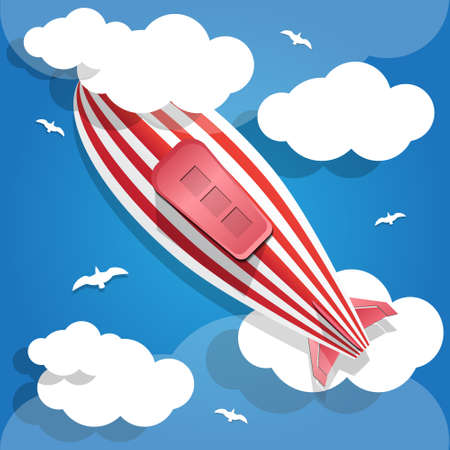 dirigible: Airship in the cloudy sky. View from below. Vector illustration. Illustration