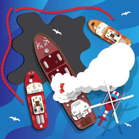 Het vuur op het schip. Olielek. Ecologisch probleem. Vector illustratie.
