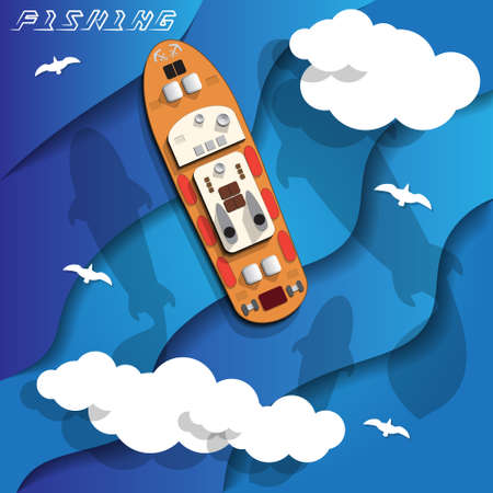 Ship on fisheries. View from above. Vector illustration.