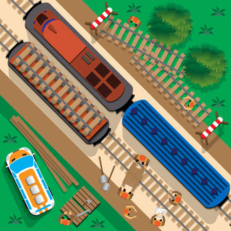 Renovation of the railway. View from above. Vector illustration.