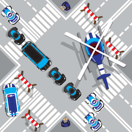 The motorcade escorted by police. View from above. Vector illustration. Illustration