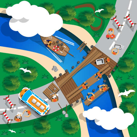 Construction of a bridge across the river. View from above. Vector illustration.