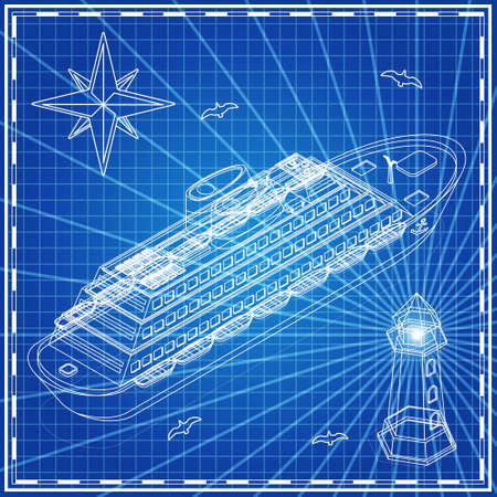 Cruise liner and a lighthouse as outlines on blue background. Isometric. Vector illustration.