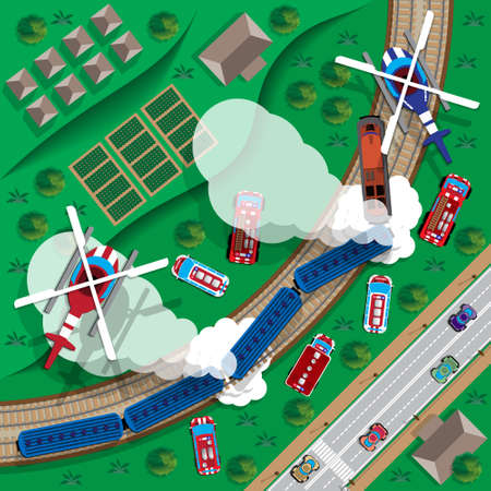 brigade: Train wreck. View from above. Vector illustration.