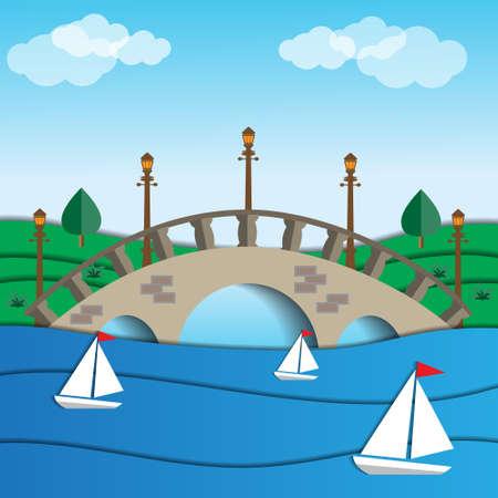 Arch bridge in the park. Vector illustration.
