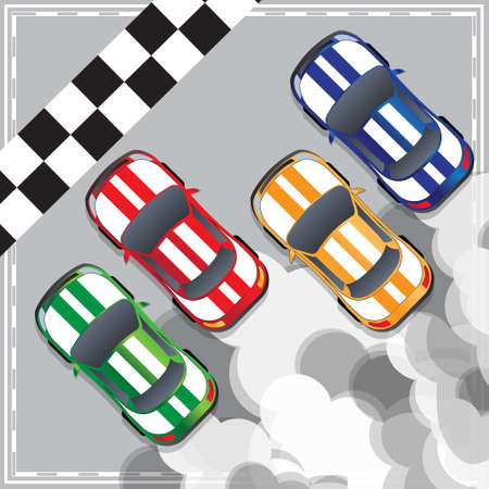 Racing cars at the finish line. View from above. Vector illustration. Illustration