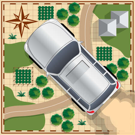 roadless: Car on a map background. View from above. Vector illustration. Illustration