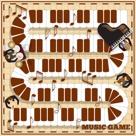 Piano keys on a checkered field. Musicians play instruments. Board game. Vector illustration.