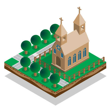 The church in the park. Isometric. Vector illustration.
