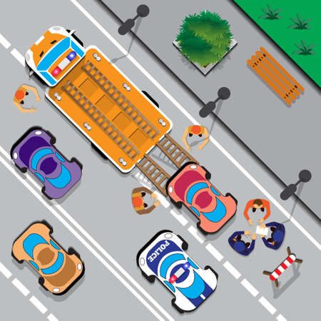Evacuation of cars on the street. View from above. Vector illustration. Illustration