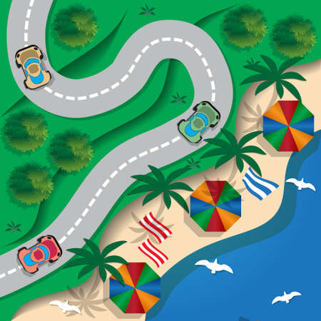 slopes: Winding road running along the beach. View from above. Vector illustration.