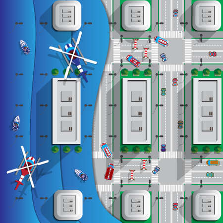 Flooding in the city. View from above. Vector illustration.
