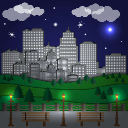 View the city at night from the park. Vector illustration.