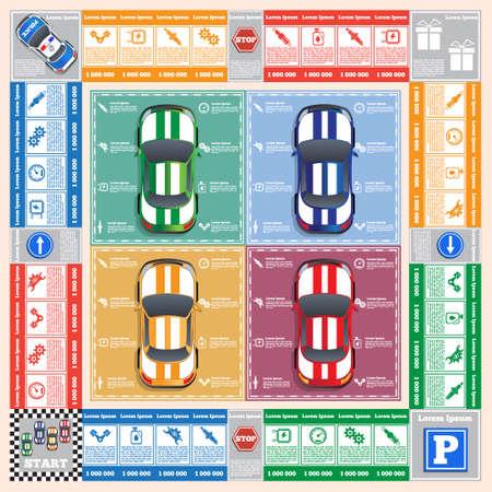 車の修理。ボードゲーム。アプリのゲーム ユーザー インターフェイスのベクター デザイン。