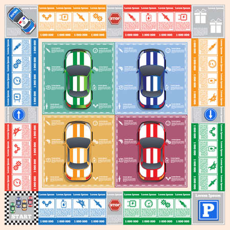 Car repair. Board game. Vector design for app game user interface. Ilustração