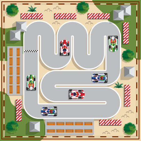 Racing karts. View from above. Vector illustration.