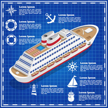 Cruise liner on a blue background. The template for the presentation. Vector illustration.