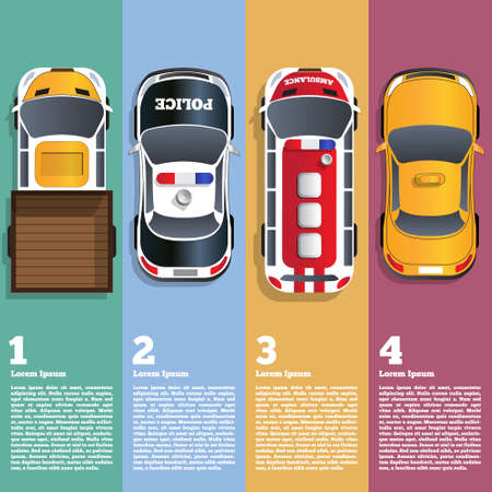 Illustration of different cars. View from above. Business brochure design template. Vector illustration.